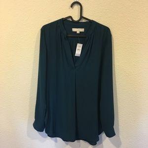 NWT LOFT teal long sleeve blouse